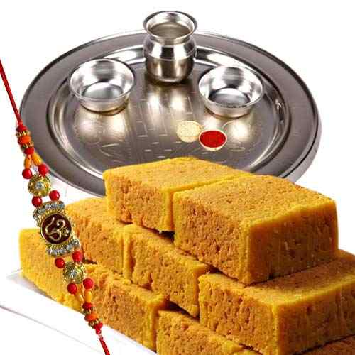 Rakhi with Soan Papdi  & Silver Plated Thali