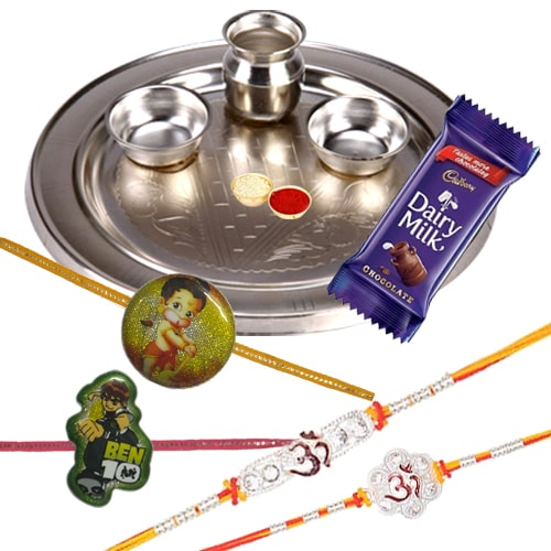 Silver Plated Rakhi Thali with 2 Om Rakhi, 2 Kids Rakhi and 1 Dairy Milk