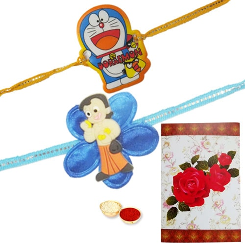 Kid Special Rakhi set of Chota Bheem & Doremon