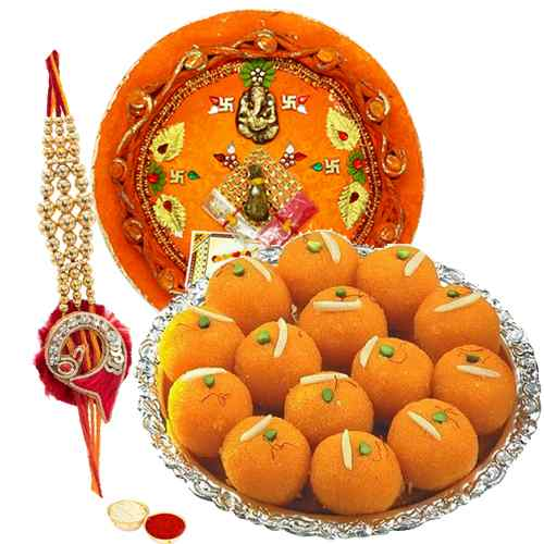 Classic Combo of Rakhi with Motichur Ladoo N 1 Rakhi Thali