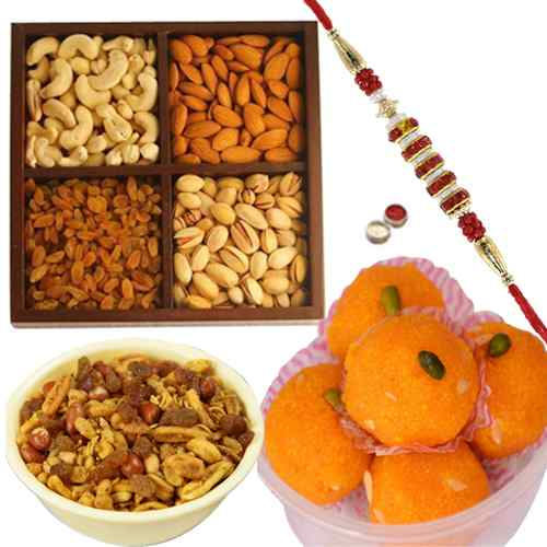 Rakhi with Mix Dry Fruit, Boondi Ladoo and Mix Namkeen