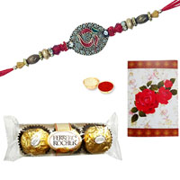 2 Designer Ethnic Rakhi with 3 Pcs. Ferrero Rocher Chocolates<br /><font color=#0000FF>Free Delivery in USA</font>