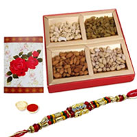 One or More Designer Ethnic Rakhi with with Dry fruits <br /><font color=#0000FF>Free Delivery in USA</font>