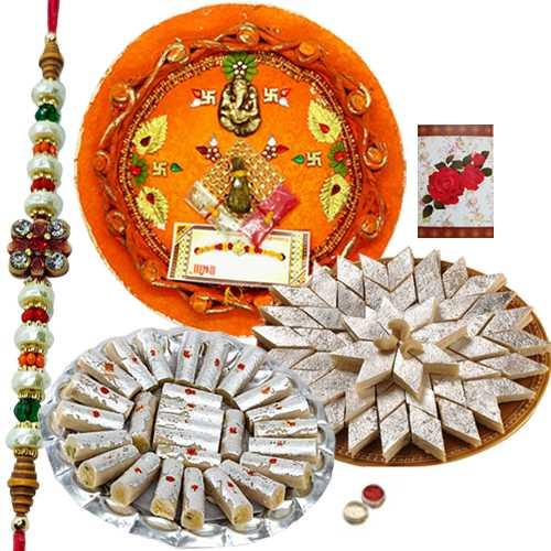 Rakhi Thali with One or More Rakhis, 250 Gms. Kaju roll n 250 Gms. Kaju Katli<br /><font color=#0000FF>Free Delivery in USA</font>