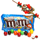 Wonderful M N M Chocolates 57 Gms. Bag and Ethnic Zerdosi Rakhi