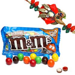 Wonderful M N M Chocolates 57 Gms. Bag and Ethnic Zerdosi Rakhi