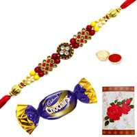 Enthralling Jeweled Rakhi with a Chocolate and a Free Greetings Card
