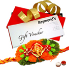 Amazing Raymond gift Voucher with Free Rakhi, Roli Tika and Chawal