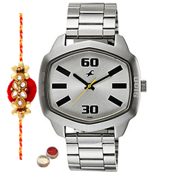 Admirable Gents Watch from Fastrack with 1 Free Rakhi, Roli Tilak and Chawal