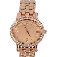 Trendy Gift of Stone Studded Rose Gold Wrist Watch for Women