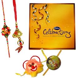 Lovely Cadbury Celebration Pack with 1 Bhia Bhabi Rakhi and 1 Kids Rakhi with Bond of Love