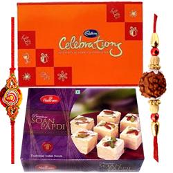 100 Gms Soan Papdi, Cadbery Celebration Pack with 1 Rakhi