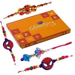 Lip-Smacking Chocolates with Rakhi set and Rakhi