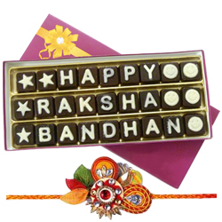 Classic Feel of Love Homemade Chocolates with Om Rakhi