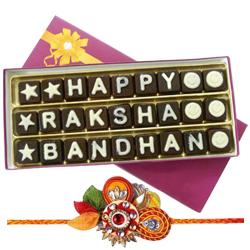 Classic Feel of Love Homemade Chocolates with Om Rakhi